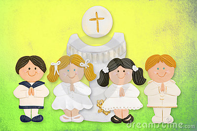first communion card, a group of children