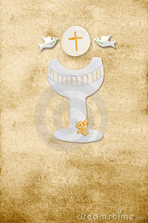 First communion card vertical parchment chalice