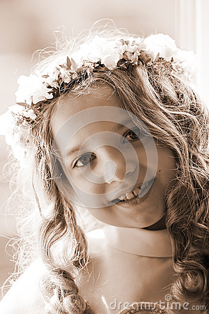 First Communion - portrait sepia