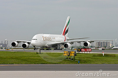 First Emirates Airbus A380-800 in Toronto Editorial Photo