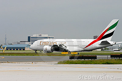 First Emirates Airbus A380 in Toronto Editorial Photography