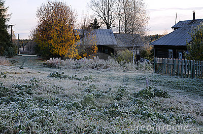 First Frosty Morning In The Russian Village