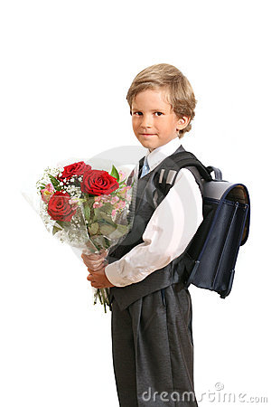 The first-grader with a bouquet