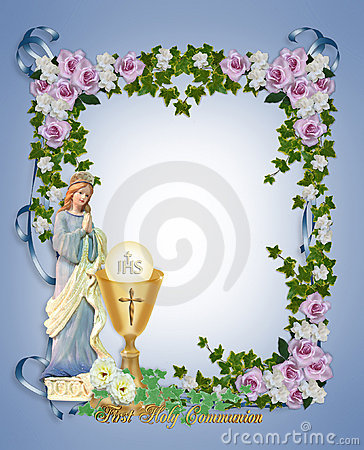 ... Border or frame with gold chalice and angel. Gold text and copy space