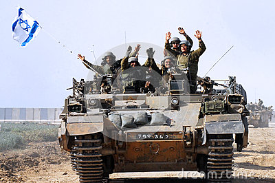 The first Israeli troops leaving Gaza Strip Editorial Stock Image