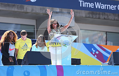 First Lady Michelle Obama Encourages Kids to Stay Active at Arthur Ashe Kids Day  at Billie Jean King National Tennis Center Editorial Photo