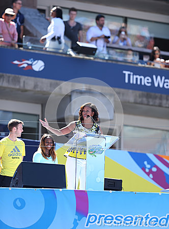 First Lady Michelle Obama Encourages Kids to Stay Active at Arthur Ashe Kids Day  at Billie Jean King National Tennis Center Editorial Photography