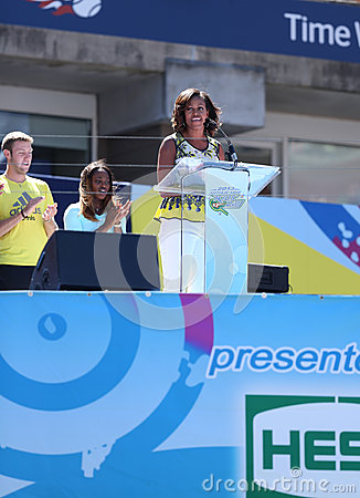 First Lady Michelle Obama Encourages Kids to Stay Active at Arthur Ashe Kids Day  at Billie Jean King National Tennis Center Editorial Stock Photo