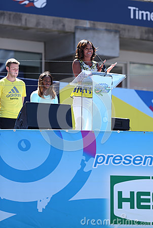 First Lady Michelle Obama Encourages Kids to Stay Active at Arthur Ashe Kids Day  at Billie Jean King National Tennis Center Editorial Stock Image