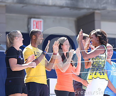 First Lady Michelle Obama joined by professional tennis players at Arthur Ashe Kids Day at Billie Jean King National Tennis Center Editorial Image