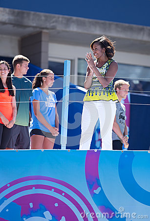 First Lady Michelle Obama joined by professional tennis players at Arthur Ashe Kids Day at Billie Jean King National Tennis Center Editorial Photo