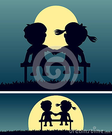 First Love in the Moonlight Vector Illustration
