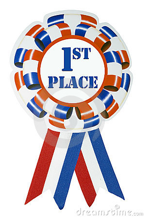 A large red white and blue First Place Ribbon Red