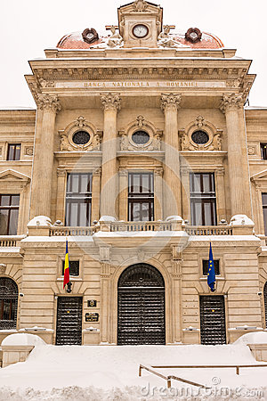 First Snow On The National Bank Of Romania Editorial Photography
