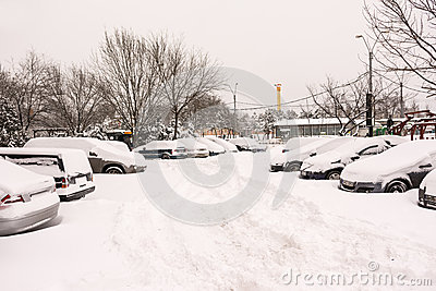 First Snow Over Bucharest Cars Editorial Image