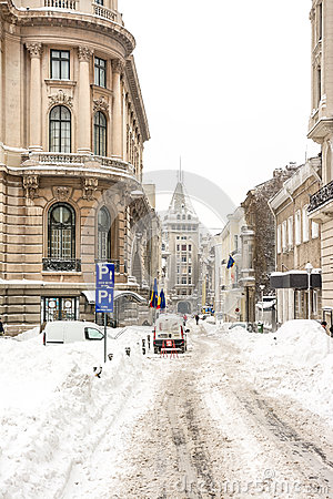 First Snow Over Downtown Bucharest Editorial Stock Image