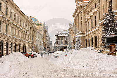 First Snow Over Downtown Bucharest Editorial Image
