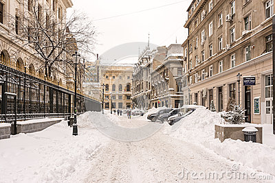 First Snow Over Downtown Bucharest Editorial Stock Photo