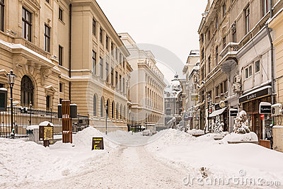 First Snow Over Downtown Bucharest Editorial Photography