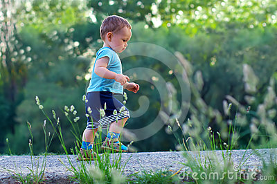 First steps of cute baby boy among greens
