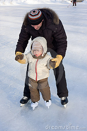 Free First Steps On The Rink Stock Image - 4006521
