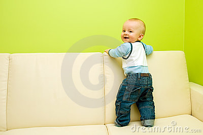 First steps on sofa