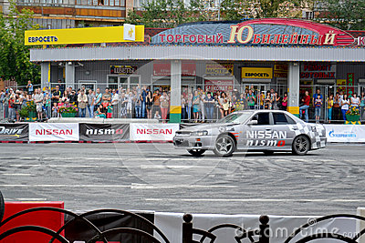 For the first time in Tyumen 18.08.2013 grandiose Nismo G-Drive Editorial Stock Photo
