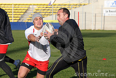 First training of the Catalans dragons Editorial Stock Photo