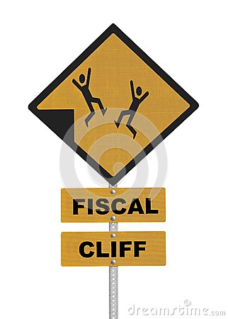 Fiscal Cliff Warning Sign Isolated on White