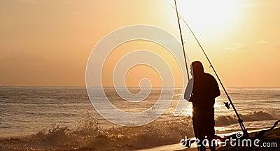 Fischer am Sonnenuntergang Hawaii