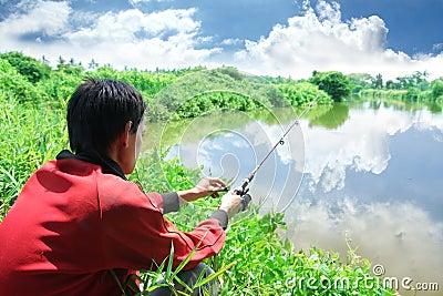 Fischerei Hobbytätigkeit der im Freien
