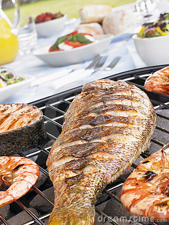 Free Fish And Prawns Cooking On A Grill Royalty Free Stock Photos - 8755408