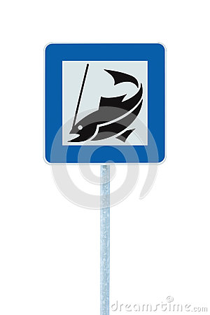 Fish angling camp road sign isolated pole post
