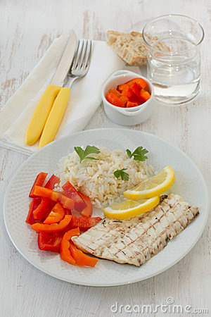 Fish with boiled rice