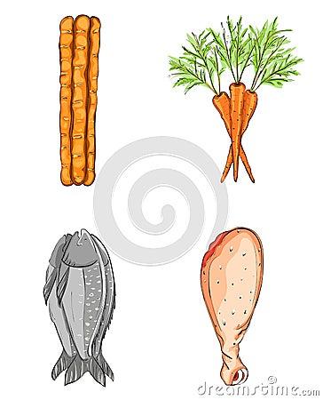 Fish Bread Carrot Chicken