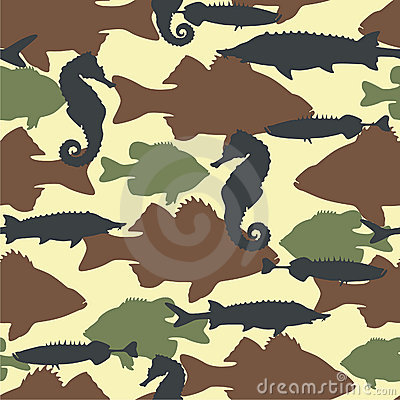 Fish camouflage seamless pattern