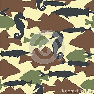 Fish camouflage seamless pattern