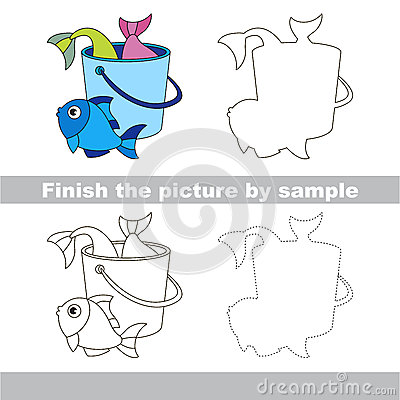 fish catch drawing worksheet stock vector image 70126287. Black Bedroom Furniture Sets. Home Design Ideas