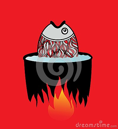 Fish cooked in water on a fire.