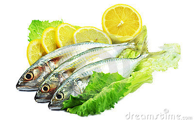 Fish decorated with lemon and salad