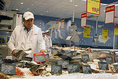 Fish department at supermarket Editorial Photography