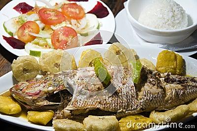 Fish dinner tostones corn island nicaragua