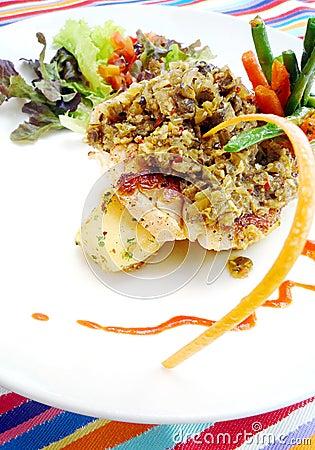 Fish dish in Bali cafe