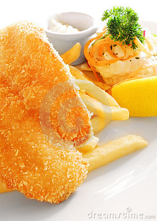 Fish dish with fries, fried western food