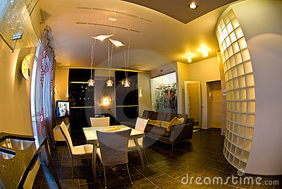 Fish eye of home interior