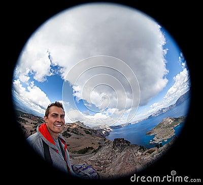 Free Fish-Eye Selfie At Crater Lake Royalty Free Stock Photo - 44687265