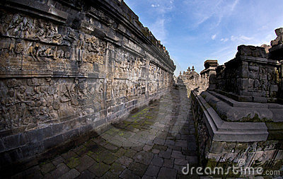 Fish-eye View of Long Ancient Corridor