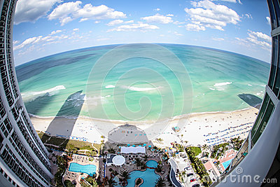 Fish-eye view of Miami beach