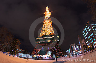 Fish eye view of Sapporo TV Tower Editorial Photography
