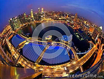 Singapore city skyline after  sunset.